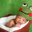 Newborn baby boy wearing a green crocheted frog hat. He is sleeping in a red wooden box.  — Stock Photo