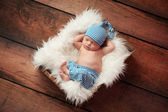 Sleeping Newborn Baby Wearing Pajamas — Stock Photo