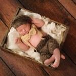 Newborn Baby Boy in Little Man Suit — Stock Photo #27842709