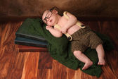 Nerdy Newborn Baby Boy — Stock Photo