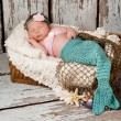 Newborn Baby Girl in a Mermaid Costume — Stock Photo