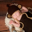 Newborn Baby Wearing a Monkey Hat — Stock Photo
