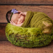 Portrait of a Sleeping Newborn Girl — Stock Photo