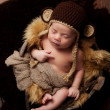Newborn Baby Boy Wearing a Monkey Hat — Stock Photo