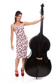 Beautiful Rockabilly Girl with Double Bass — Stock Photo