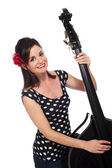 Rockabilly Girl Playing the Double Bass — Stock Photo
