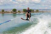 Mature Man Slalom Waterskiing — Stock Photo