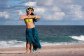 Beautiful, Smiling Hula Dancer on Beach — Stock Photo