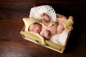 Sleeping Newborn Baby in Bonnet and Leg Warmers — Stock Photo
