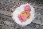 Sleeping Newborn Baby Girl Wearing Pink Sleeping Cap — Stock Photo
