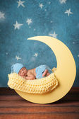 Newborn Boy Sleeping on the Moon — Stock Photo