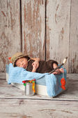 Newborn Baby Boy in Fisherman Outfit — Stock Photo