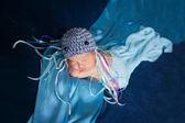 Newborn Baby Girl Wearing a Jellyfish Costume — Stock Photo
