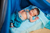 Smiling Newborn Baby Girl Wearing a Belly Dance Costume — Foto Stock