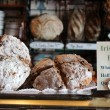 Local bakery display of fresh crusty breads,Irish Soda Bread being the main attraction on this particular morning. — Stock Photo