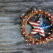 Americana decoration on dark gray weathered barn board — Stock Photo