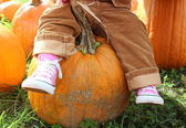 Little pink sneakered feet of a toddler sitting on a large orange pumpkin at a local nursery's seasonal pumpkin patch — Stok fotoğraf