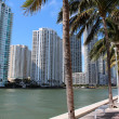 Gorgeous cityscape of business buildings and ultra chic condominiums along the river walk in Miami,Florida — Stock Photo #26440981