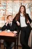 Women dominate over men — Stock Photo