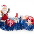 New Year's toys and Santa Claus on a white background — Foto de Stock