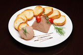 The menu - photo - superb tasty toasts with pate — Stock Photo