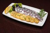 The menu - photo - appetizing herring with potatos — Stock Photo