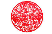 Chinese paper-cut - both blessing pig brought good luck! Daihatsu wealth! — Stock Photo