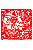 Chinese paper-cut - fish, fish, fish, every year more than — Stock Photo