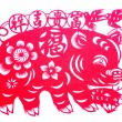 Stock Photo: Chinese paper-cut - Fu pig brought peace wishful
