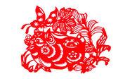Chinese paper-cut - Fu Pig — Stock Photo