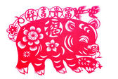Chinese paper-cut - Fu pig brought peace wishful — Stock Photo
