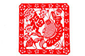 Chinese paper-cut - goldfish Fu Xian — Stock Photo