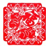 Постер, плакат: Chinese paper cut both pig TOEFL
