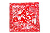 Chinese paper-cut - Pisces hold blessing, Four Seasons peace, more than happiness — Stok fotoğraf