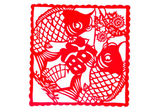 Chinese paper-cut - Pisces hold blessing — Stock Photo