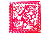 Chinese paper-cut - Pisces hold blessing, Four Seasons peace, more than happiness — Stockfoto