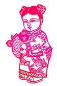 Chinese paper-cut - Lady Xian fish — Stock Photo