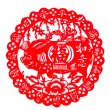 Chinese paper-cut - wishful blessing pigs, Four Seasons peace — Stock Photo