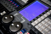 Sound control mixer close-up — Foto Stock