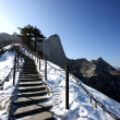 Huashan 2154.9 meters above sea level is one of China's famous saying, this is the mountain Huashan Road — Stock Photo