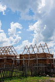 Inner Mongolia Hulunbeier amount Ergunaen and the town being built Kibusa — Stock Photo