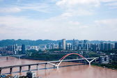 Yuzhong District and the South Bank area and Caiyuanba Yangtze River Bridge — Stock Photo