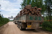 Tai Hing Lam region of Inner Mongolia and Heilongjiang Province, at the junction of the road transport of timber gulian township level car — Stock Photo