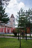 Daxinganling Mohe, Heilongjiang Province tax margin of Arctic Village hotel lawn — Stock Photo