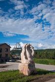 """Daxinganling Mohe, Heilongjiang Province Arctic Village """"Divine Arctic Square"""" gold treasure sculpture — Stok fotoğraf"""