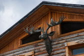 Daxinganling Mohe, Heilongjiang Province Arctic Village house red deer head ornaments — Stock Photo