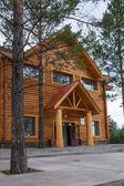 Arctic Village Daxinganling Mohe, Heilongjiang Province tourist reception center wooden houses — Stock Photo