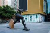"Shenzhen, Guangdong Huafu Road Street Town Plaza ""shopping"" Sculpture — Stock Photo"