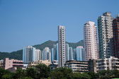 Wong Tai Sin Temple in Kowloon, Hong Kong residential buildings — Stock Photo
