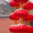 Xi'an Famen Temple wall of red lanterns — Stock Photo